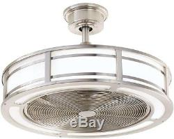 23 in. LED Indoor/Outdoor Brushed Nickel Drum Cage Ceiling Fan LED Light Strips