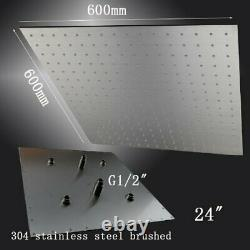 24 Square Ceiling Mount Rainfall LED Shower Head Brushed Nickel Top Sprayer