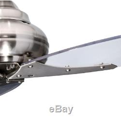 3-Blade 56 Large Clear Ceiling Fan Unique Industrial Airplane Brushed Nickel
