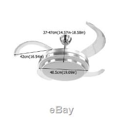 42 Inch Brushed Nickel Ceiling Fan Dimming LED Light Solid Blades Remote Control