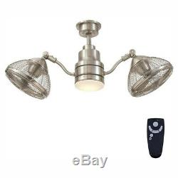 42 Inch Integrated LED Indoor Outdoor Brushed Nickel Ceiling Fan Light Kit
