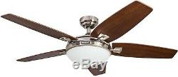 48' Honeywell Carmel Brushed Nickel Ceiling Fan With Integrated Light And Remote