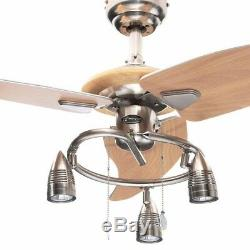 48 in. Modern Ceiling Fan Beech Blades Brushed Nickel Light Kit Contemporary