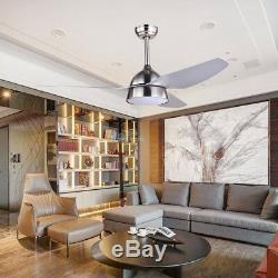 52 Acrylic Brushed Nickel Ceiling Fan Chandelier with 18W LED Light Kit Remote