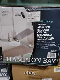 52''Brushed Nickel Ceiling Fan with Light & RC with Color Changing by Hampton Bay