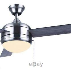 52 Brushed Nickel LED Indoor/Outdoor Ceiling Fan with Light Kit