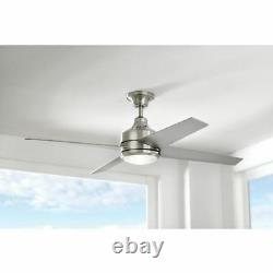 52 Inch LED Indoor Brushed Nickel Ceiling Fan With 4 Silver Blades & 14w LED Light