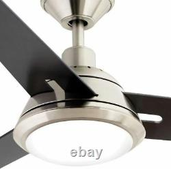 52 Inch LED Indoor Brushed Nickel Ceiling Fan With Dimmable 17-Watt LED Light Kit