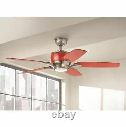 52 Integrated LED Indoor Brushed Nickel & Red Ceiling Fan With 3 Speed Control