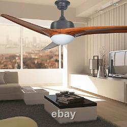 52 Modern Luxury Art Deco 3 Blade LED Lighted with Remote Control Ceiling Fan