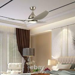 52 in. LED Indoor Brushed Nickel Ceiling Fan with Light Kit and Remote Control