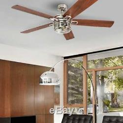 52 in Modern Ceiling Fan with Led Light & Remote Control Silver Brushed Nickel