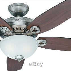 54 Hunter Fan Brushed Nickel Ceiling Fan with Light Kit and Remote Control