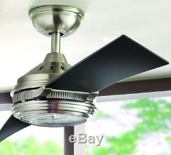 56 In. LED Ceiling Fan Brushed Nickel Clock Face Light Remote Indoor Black Quiet