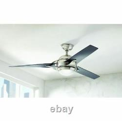 56 Inch LED Indoor Brushed Nickel Ceiling Fan With 3-Blade & Ball Housing Design
