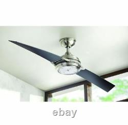 56 Inch LED Indoor Brushed Nickel Ceiling Fan With Functional Clock & Black Blades
