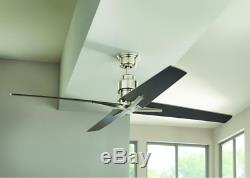 56 Large Airplane Ceiling Fan Remote Industrial Brushed Nickel Office Loft Star