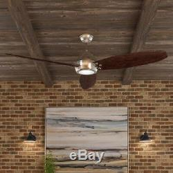 60 Inch Ceiling Fan Light LED Remote Control Indoor Outdoor Brushed Nickel Home