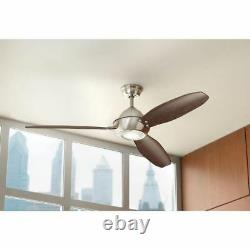 60 Inch Integrated LED Indoor/Outdoor Brushed Nickel Ceiling Fan With 3 ABS Blades