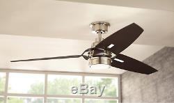 60 Large Airplane Ceiling Fan Remote LED Light Kit Brushed Nickel Unique Office