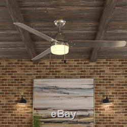60 in Brushed Nickel Ceiling Fan 3 Blades Integrated LED Light Indoor Outdoor