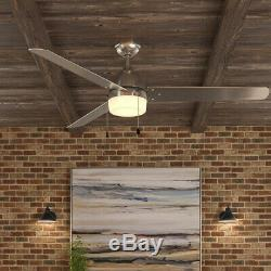 60 in. Brushed Nickel Ceiling Fan Integrated LED Light Kit Industrial Damp Rated