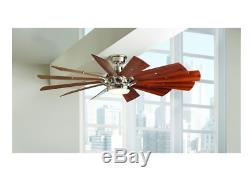 60 in Brushed Nickel Ceiling Fan LED Light Large WindMill Blade Remote Control