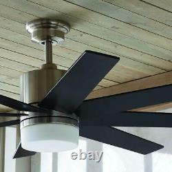 60 in. Indoor Zolman Pike Integrated LED DC Brushed Nickel Ceiling Fan