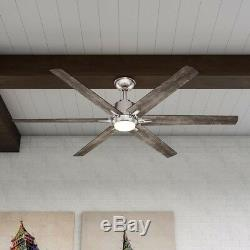 64 in. Modern Ceiling Fan Indoor Outdoor Brushed Nickel LED Light Remote Control