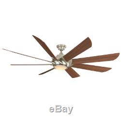 70 Large Windmill Cabin Ceiling Fan + Remote LED Light Brushed Nickel Farmhouse