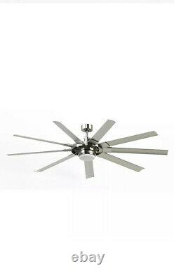 72 Brushed Nickel Downrod Mount Indoor/Outdoor Ceiling Fan LED Light and Remote