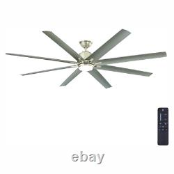 72 Integrated Led Indoor Outdoor Brushed Nickel Ceiling Fan Eight Silver Blades