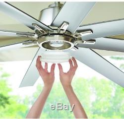 72 in. Modern Ceiling Fan Indoor Outdoor Brushed Nickel LED Light Remote Control