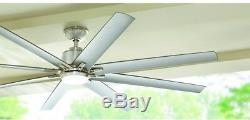 72 in Remote Control Ceiling Fan LED Light Downrod Brushed Nickel Indoor Outdoor