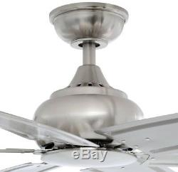 84 in. Indoor Brushed Nickel Ceiling Fan with Remote Control Downrod Large