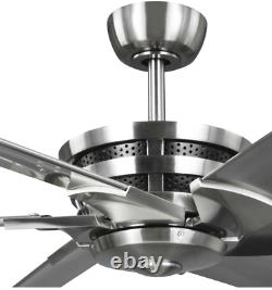96-Inch 6-Speed Durable Indoor Industrial Ceiling Shop Fan Remote Damp Rated