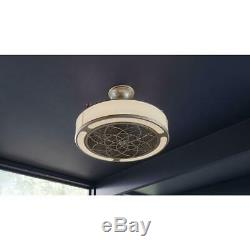 Anderson 22 in. LED Indoor/Outdoor Brushed Nickel Ceiling Fan w. Remote Control