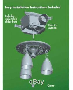 Bathroom Exhaust Fan 70 CFM Ceiling Mount Brushed Nickel With Decorative Light