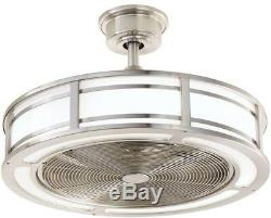 Brette Brushed Nickel Ceiling Fan 23in LED Indoor/Outdoor Remote Control 3 Speed