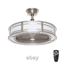 Brette II 23 in. LED Indoor/Outdoor Brushed Nickel Ceiling Fan with Light