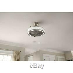 Brushed Nickel Ceiling Fan Indoor Outdoor 3 Speed Angled Mount LED Light Silver