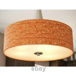Bulletin 3-Light Brushed Steel Ceiling Pendant with Cork Shade by Unbranded