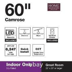 Camrose 60'' Integrated LED Brushed Nickel Ceiling Fan with Light Kit & Remote HDC