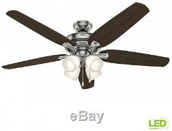 Ceiling Fan 60in LED Indoor Brushed Nickel Light Kit White Glass Transitional