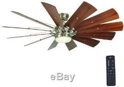 Ceiling Fan Brushed Nickel Large LED 60 In Indoor Light Kit and Remote Control