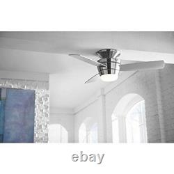 Ceiling Fan Flush Mount with Light and Remote 3 Blade 44 in Indoor Brushed Nickel