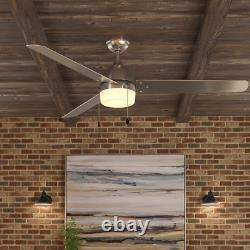 Ceiling Fan Light Kit Dome Style LED Industrial 3 Blade Brushed Nickel 60 in