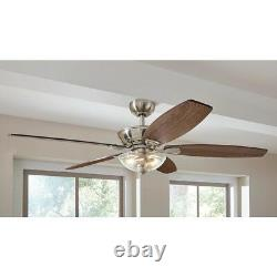 Connor 54 in. LED Indoor Ceiling Fan with Light Kit Remote Control Brushed Nickel