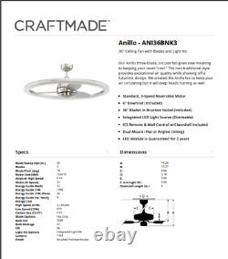 Craftmade Anillo 36 Led Indoor Ceiling Fan In Brushed Polished Nickel