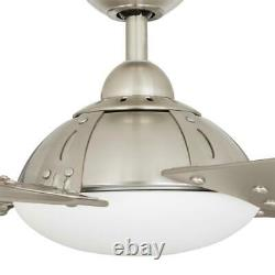 Draper 54 in. Outdoor LED Brushed Nickel Ceiling Fan with Remote Control by Home